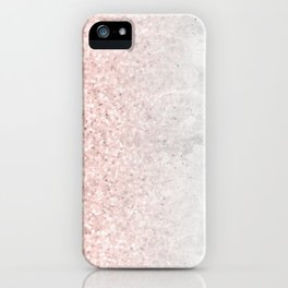 Blush Pink Sparkles on White and Gray Marble iPhone Case
