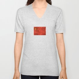 Vintage Aged and Scratched Chinese Flag Unisex V-Neck