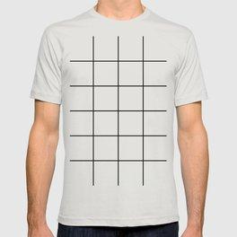 black grid on white background T-shirt