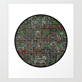 Round Grunge Wall Of Mould And Green Art Print