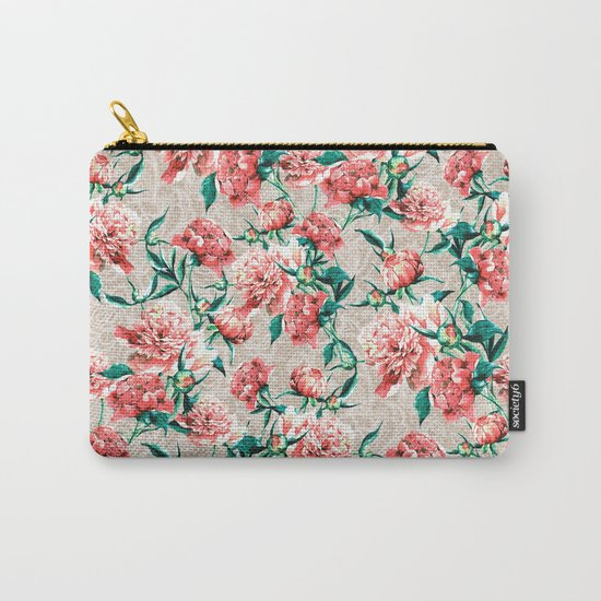 Peonies with lace effect Carry-All Pouch
