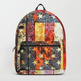 American Flag On Rusted Riveted Metal Door Backpack