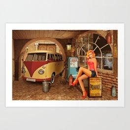 Pin up girl in nostalgic workshop Art Print