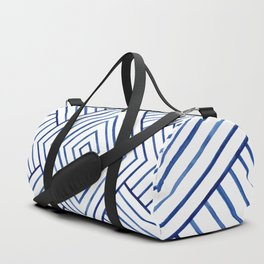 Watercolor lines pattern | Navy blue Duffle Bag