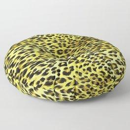Yellow Tones Leopard Skin Camouflage Pattern Floor Pillow