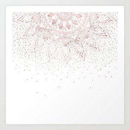 Elegant rose gold mandala confetti design Art Print