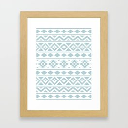Aztec Essence Ptn III Duck Egg Blue on White Framed Art Print