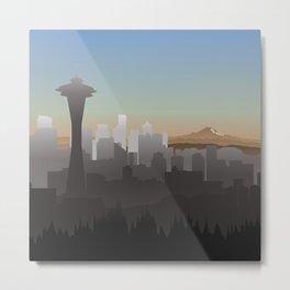 Seattle Skyline Sunset Metal Print