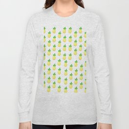 Tropical watercolor green yellow hand painted pineapple Long Sleeve T-shirt