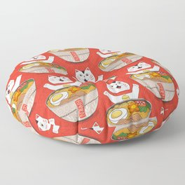 Liter of Ramen. Japanese soup and Manekineko cat. Floor Pillow