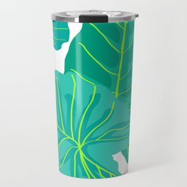 Giant Elephant Ear Leaves in White Travel Mug