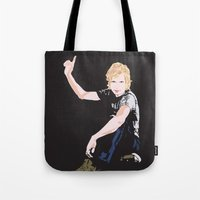cassia beck Tote Bags featuring Beck Hansen by Alfredo Torres