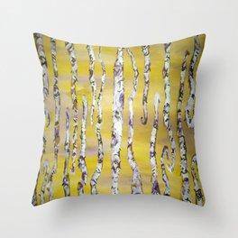 Aspen Trees Acrylic Painting Throw Pillow