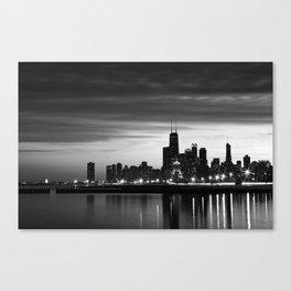 Chicago Skyline Black and White Leinwanddruck