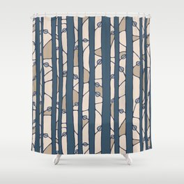 Into The Woods blue cream Shower Curtain