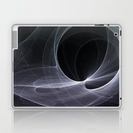 Fractal Wave Abstract Lines Purple White Teal on Black Laptop & iPad Skin
