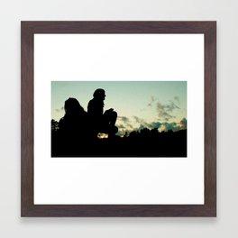 Dark Silhouette Against Norwegian Sunset Framed Art Print