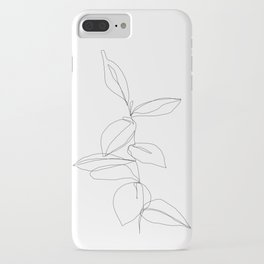 One line minimal plant leaves drawing - Berry iPhone Case