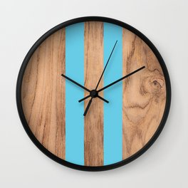 Wood Grain Stripes Light Blue #807 Wall Clock