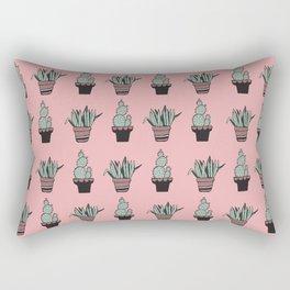 Cactus and Aloe Vera on pink Rectangular Pillow