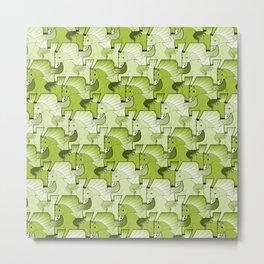 A faun riding an unicorn in green. Metal Print