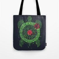 paramore Tote Bags featuring On Turtle BPM by Sitchko Igor