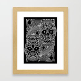 Ace of Spades Silver Skull Playing Card Framed Art Print