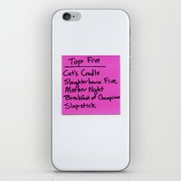 vonnegut iPhone & iPod Skins featuring TOP FIVE Kurt Vonnegut Novels by Jeremiah Wilson