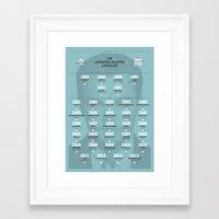 leonardo dicaprio Framed Art Prints featuring Leonardo DiCaprio Movie Checklist by Jack Richardson Design