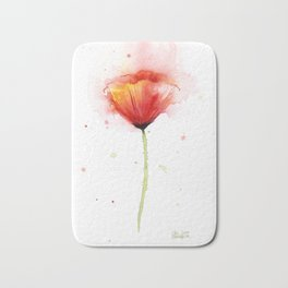 Red Poppy Flower Watercolor Abstract Poppies Floral Bath Mat