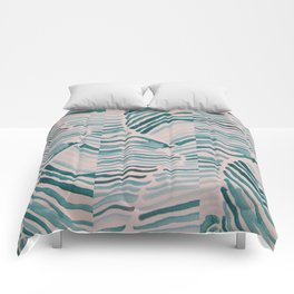 Trippy Turquoise Waves Comforters