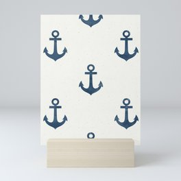 Seamless Pattern Nautical Navy Anchor Blue Color White Background Sea Ocean Theme Mini Art Print