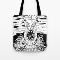 tiki Tote Bags featuring Tiki lunch by CHAUCHE