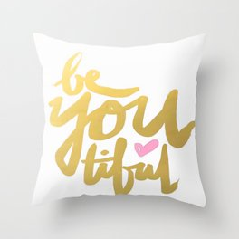 Gold Brushstroke Watercolor Beyoutiful Love Heart Ink Calligraphy Inspiration Typography Throw Pillow