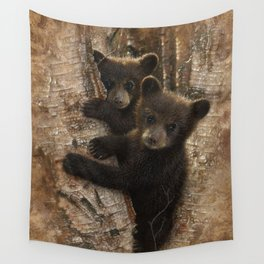 Black Bear Cubs - Curious Cubs Wall Tapestry