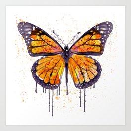 Monarch Butterfly watercolor Art Print
