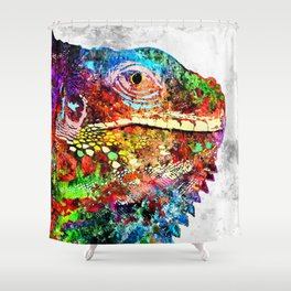 Iguana Grunge Shower Curtain