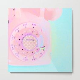 Brooklyn 718 Vintage Pink Phone - Neon Pink Rotary Telephone Metal Print