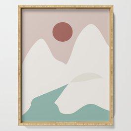 White geometric mountain Serving Tray