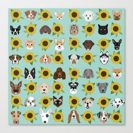 Dogs and cats pet friendly sunflowers animal lover gifts dog breeds cat person Canvas Print