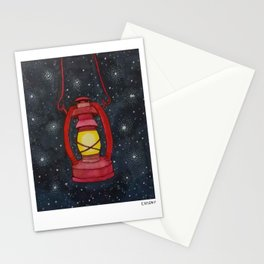 Lantern Night Sky Illustration Stationery Cards