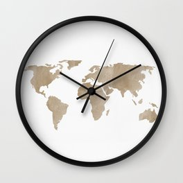 World Map - Beige Watercolor Minimal on White Wall Clock