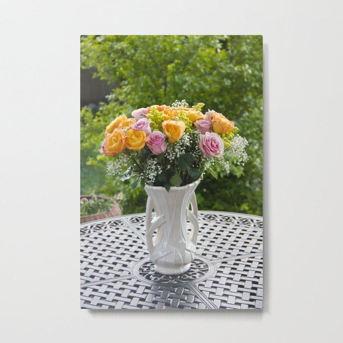 Flowers in McCoy Vase Metal Print