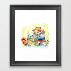 Capybara and his succulent garden. Framed Art Print