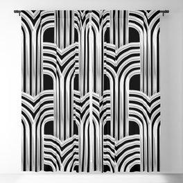 3-D Art Deco Silver Architectural Chic Design Blackout Curtain