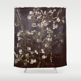 Vincent Van Gogh Almond Blossoms dark gray slate Shower Curtain