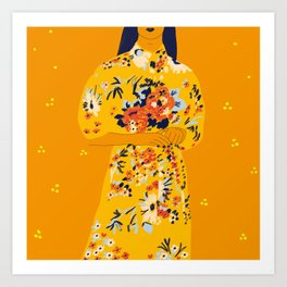 Kimono fleuri Art Print