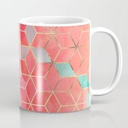 Rose And Turquoise Cubes Coffee Mug