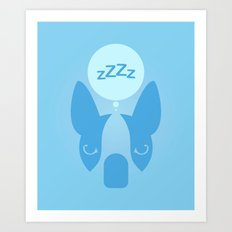 Boston Terrier Thoughts: Sleep. Art Print