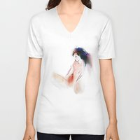 naked V-neck T-shirts featuring  naked by tatiana-teni